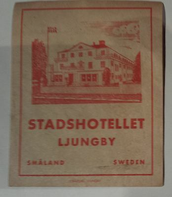 Stadshotellet Ljungby Sweden Vintage Hotel Luggage Tag Label Original 1-36