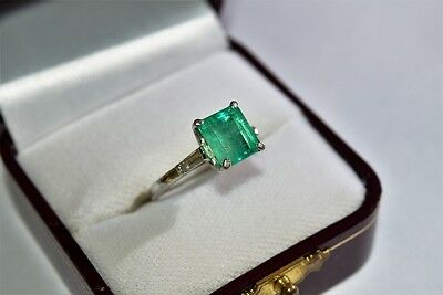 Vintage 100% Natural EMERALD & DIAMOND 14K Solid White Gold Ring size: 6.5