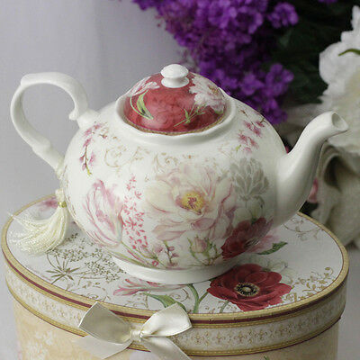 Porcelain Red Rose Teapot - Gift Boxed