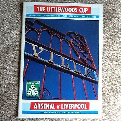 Liverpool v Arsenal league cup, third round, second replay programme 1988