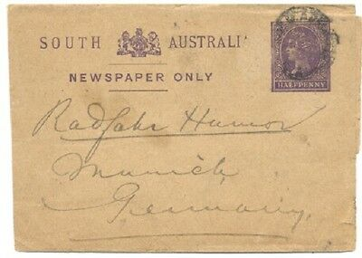 South Australia 1895 cover, wrapper, Adelaide to Germany