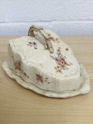 Vintage Antique Lidded Cheese Dish Cover Wedge 99 Ivory