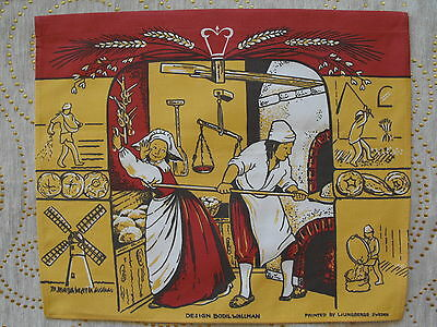 Vintage hand printed tapestry Design Bodil Wallman by Ljungbergs Sweden