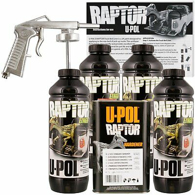 U-POL Raptor Black Truck Bed Liner Kit w/ FREE Spray Gun, 4 Liters Upol