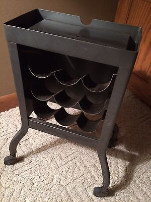 Vintage Metal Rolling Dictaphone Stand Casters Repurpose Bottle Holder