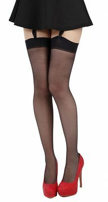 11 Pairs Plain Knit Stay Up Stockings   Black