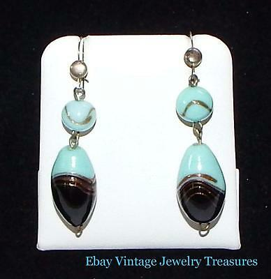 Vintage Antique Art Deco Black & Turquoise Murano Glass Wire Pierced Earrings