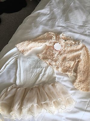 Girls Dress And Jacket Age 4/5 Years Cream Colour