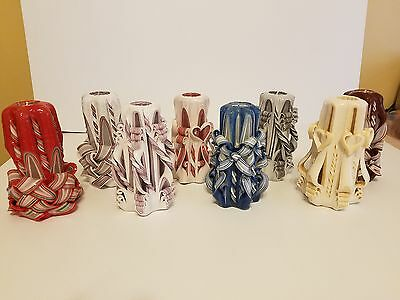 Wholesale Mixed Lot of 8 Hand Carved Candles Unique Gifts FLEA MARKET Resale Lot