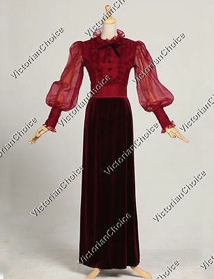 Edwardian Vintage Dark Vampira Dress Reenactment Steampunk Halloween Costume 311
