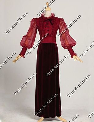 Victorian Edwardian Titanic Vintage Velvet Prom Dress Gown Theater Clothing 311