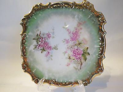 """Antique Hand Painted 6"""" Square Dish Green and Pink Floral Plate"""