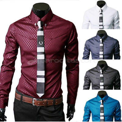 New Fashion Men Luxury Business Stylish Slim Fit Long Sleeve Casual Dress Shirt