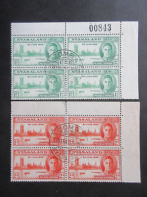 Nyasaland 1946 Victory Set Blocks of 4. Used.
