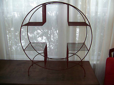 Vntg Mid-century Metal  Round RED Iron Plant Stand 6 Plant Spaces