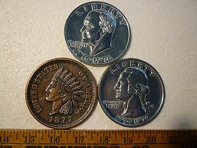 "Novelty Coins Mega 3""  1976/1776 Dollar & Quarter-1877 Indian Penny"
