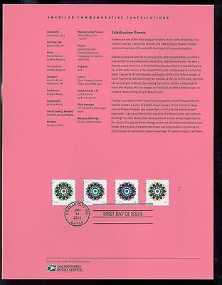 #4722-25  Forever - Kaleidoscope Flowers Coil Stamps USPS #1302 Souvenir Page