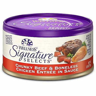Wellness Signature Selects Natural Canned Grain Free Wet Cat Food Chunky Beef...