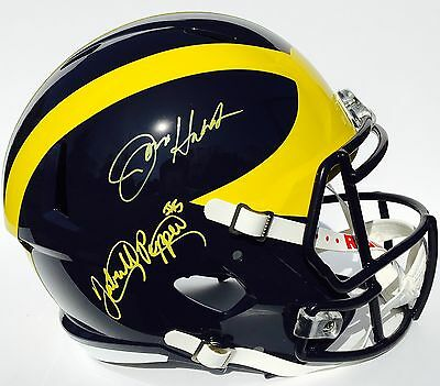 Jabrill Peppers & Jim Harbaugh Signed Michigan Wolverines Football Helmet Coa