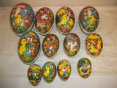 C Group of 12 Vintage Easter Egg Paper Mache Candy Containers Germany