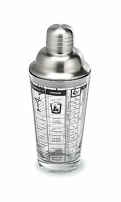 Outset Chillware Glass Cocktail Shaker With Recipes 16 Ounce