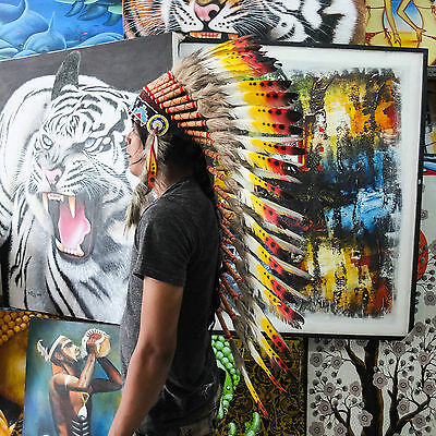 Real Chief Indian Headdress 90cm Native American Costume Hat Feather Feathers