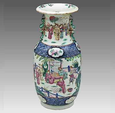 Large Chinese Export Porcelain Baluster Vase with Court Scene