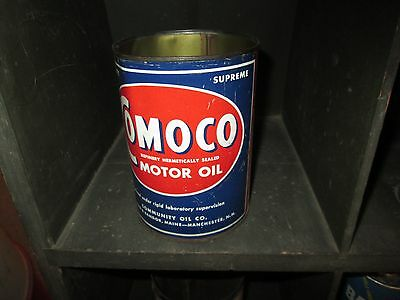 Early Original Comoco Motor Oil One Quart Can Metal Portland Maine