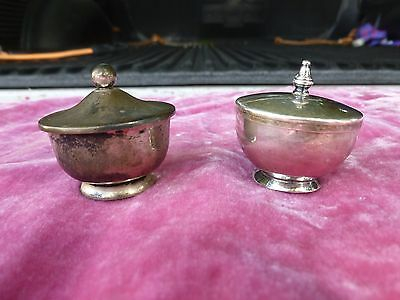 2 Sterling Silver Salts With Lids 1.75 Troy Ounces