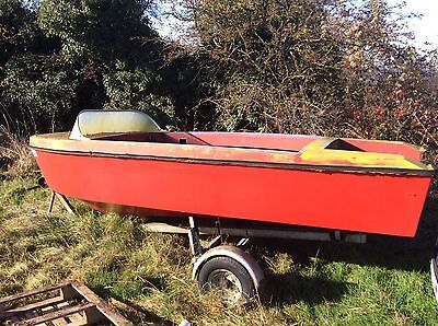 speedboat classic 50s 60s Outboard Fun Boat And Trailer Ideal Xmas Present