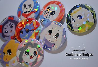 Holographic Undertale Monsters Badge Set Pin Handmade by Ohayou! Clothing