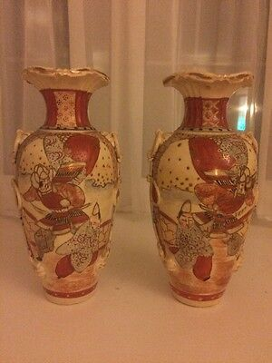 Satsuma-Pair Of Attractive Old Vases