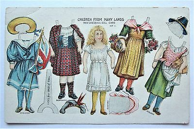 Scarce Paper Dressing DOLL Postcard No.1  England Scotland Ireland Wales Outfits
