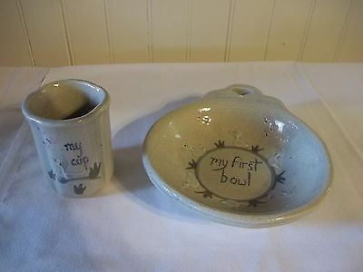 MPM Dutch Pottery 1980's Child's First Bowl & Cup W/Ducks ADORABLE