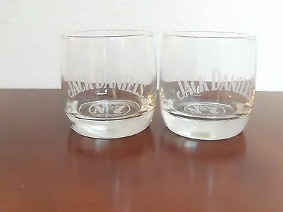 Jack Daniel's Old No 7 Rocks  Etched Glass Whiskey Set Of 2 Glasses