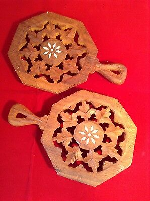 Two Vintage Hard Carved Wooden Footed Trivets With Handles Made In India