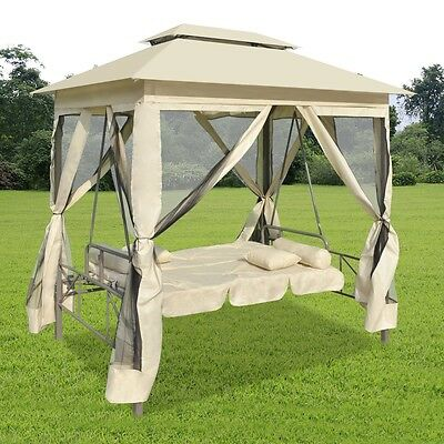 New Garden Gazebo Swing Chair Hammock Sun Bed Cream Outdoor Daybed Canopy Patio