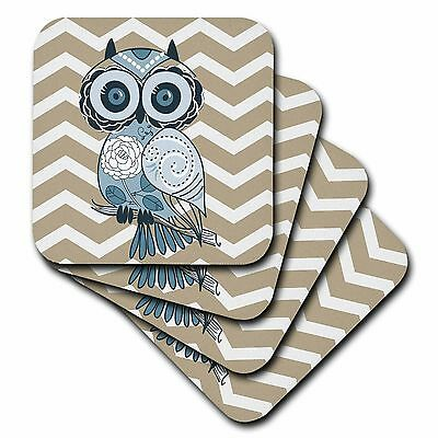 """3dRose LLC cst_162265_3 Ceramic Tile Coasters """"Blue Owl with Beige and White ..."""