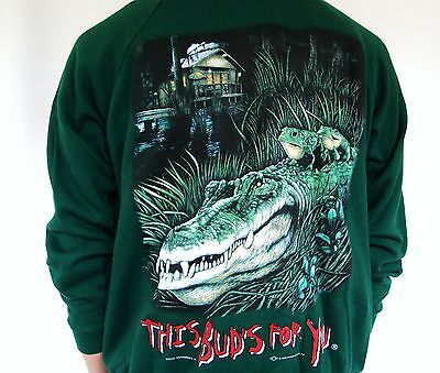 VTG 90s Budweiser Sweatshirt This Buds For You King Of Beers Bud Frog Alligator