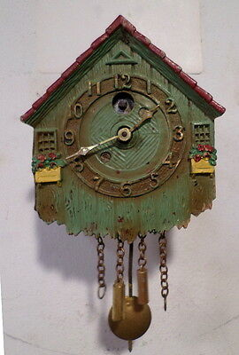 Miniature Early Keebler Mechanical Cuckoo Style Wall Clock-Made in Philadelphia