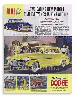 1949 Awesome Yellow Dodge Coronet Vintage Car Original Illustrated Print Ad