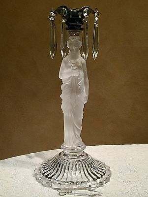 Rare Boston & Sandwich Glass Frosted Madonna Candelabrum ca. 1870-1885