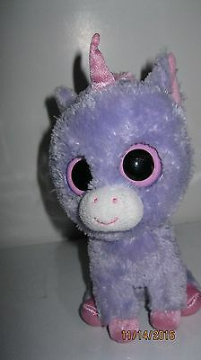 "TY BEANIE BOOS RAINBOW  6"" UNICORN - Purple NO HANG TAG Great Eyes EXCELLENT"