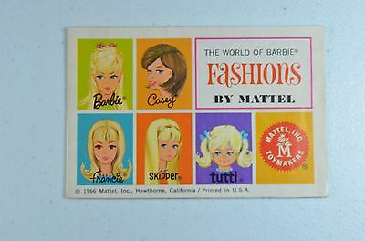 1966 Vintage The World Of Barbie Fashions By Mattel Booklet