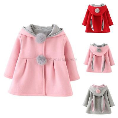 NEW Toddler Baby Girl Kid Winter Warm Rabbit Ear Hooded Coat Jacket Outerwear UK