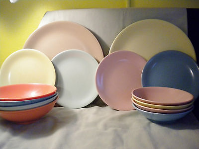 Melamine Melmac Luncheon Place Setting For Four (4), Multi Colors