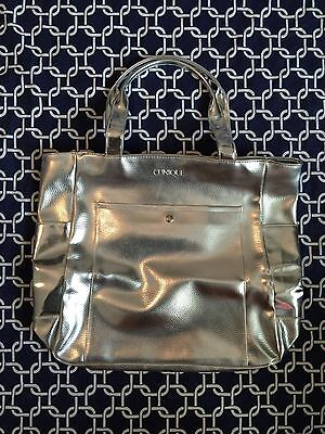 Clinique Silver Tote With Front & Side Pockets