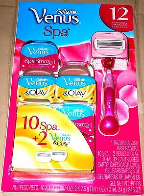 Gillette Venus Spa Razor & 12 Cartridge Refills 10 Spa Breeze & 2 Olay New
