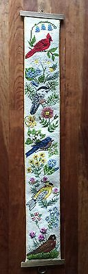 """Vintage needle point bell pull 40"""" long with birds and flowers- VERY FINE WORK!"""