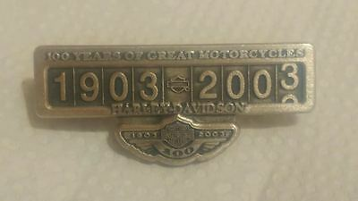 STERLING SILVER .925 Harley Davidson 100TH ANNIVERSARY ODOMETER PIN USA MFG